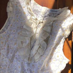 Bebe off white sheer blouse